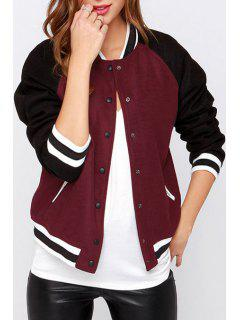Jewel Neck Color Block Baseball Jacket - Wine Red 2xl