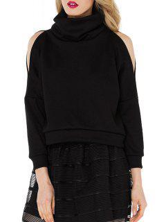 Heaps Collar Cut Out Loose Black Sweatshirt - Black L