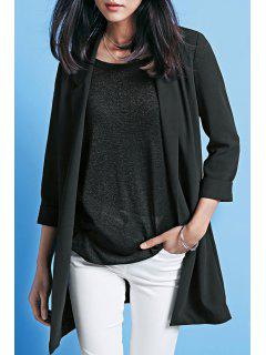 Lapel Open Front Long Black Blazer - Black Xl