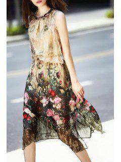 Floral Round Neck Sleeveless Midi Dress - Light Apricot S