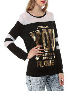 Voile Spliced Letter Pattern Glitter Sweatshirt - Black L