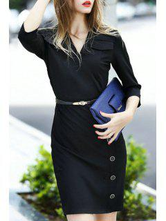Solid Color V Neck 3/4 Sleeve Bodycon Dress - Black S