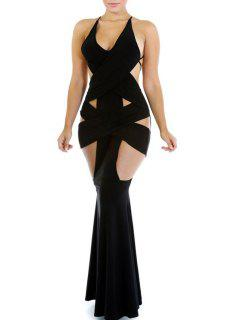 Spaghetti Strap Backless Hollow Fishtail Dress - Black