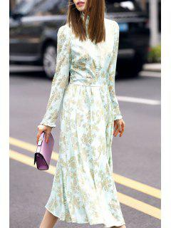 Floral Print Stand Neck Long Sleeve Dress - Flax Green M
