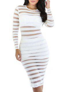 Long Sleeve See-Through Striped Bodycon Dress - White