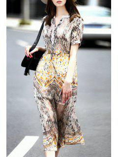 Short Sleeve Vintage Print Dress With Cami Dress Twinset - Shallow Flaxen M