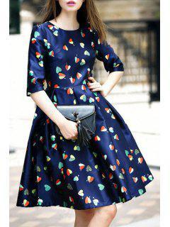 Heart Print Jewel Neck Half Sleeve Dress - Purplish Blue L