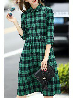 Plaid Print Shirt Neck 3/4 Sleeve Dress - Blackish Green M