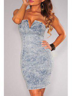 Strapless Denim Bodycon Dress - Blue M