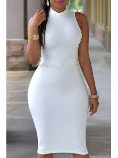 Stand Neck Cut Out Bodycon Dress - White