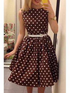 Polka Dot Sleeveless A Line Dress - Dun L