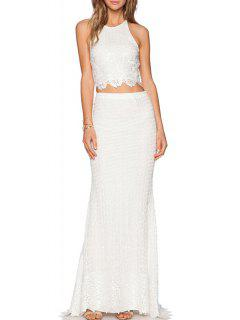Lace Crop Top + High-Waisted Long Skirt Twinset - White L