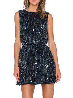 Sequins Stripe Sleeveless Dress - Purplish Blue
