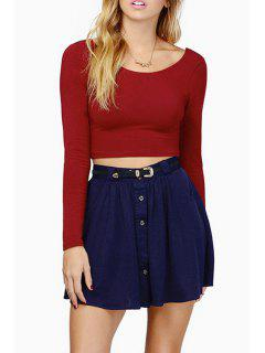 Back Cross Solid Color Long Sleeve Crop Top - Wine Red M