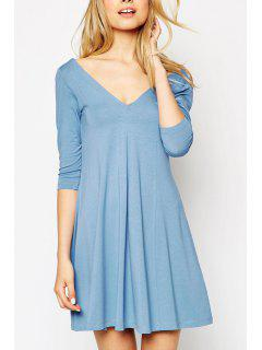 V Neck Backless Solid Color 3/4 Sleeve Dress - Light Blue L