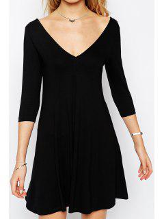 V Neck Backless Solid Color 3/4 Sleeve Dress - Black L
