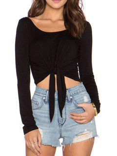 Tie Knot Backless Long Sleeve T-Shirt - Black S