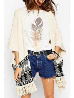 Color Block Geometric Pattern 3/4 Sleeve Cardigan - Off-white