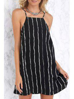 Spaghetti Strap White Stripe Sleeveless Dress - Black S