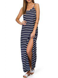 Spaghetti Strap Stripes High Slit Sleeveless Dress - Black Xl