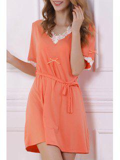 White Lace Splicing Short Sleeve Babydoll - Orange L