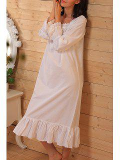 White Lace Splicing Long Sleeve Babydoll - White Xs