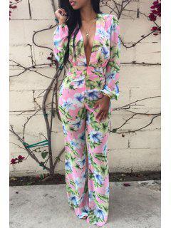 Floral Plunging Neck Long Sleeve Jumpsuit - Pink M