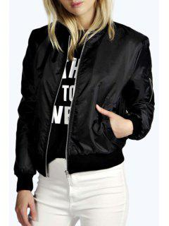 Long Sleeve Solid Color Zipper Jacket - Black S