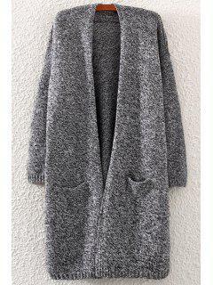 Pocket Back Slit Long Sleeve Cardigan - Gray