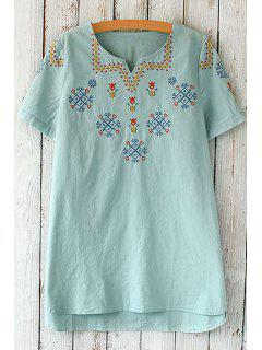 Short Sleeve Embroidered Loose T-Shirt - Light Blue