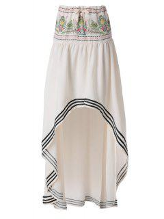 Ethnic Pattern High Low Skirt - Off-white M