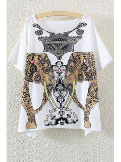 Scoop Neck Elephant Print Short Sleeve T-Shirt - White