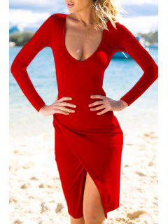 Plunging Neck Long Sleeves Bodycon Dress - Red L