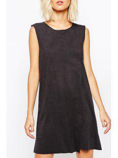 Suedette Wrap Shift Dress - Black M