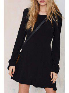 Black Open Back Long Sleeves Dress - Black M
