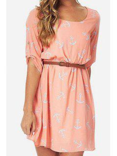 Anchor Print Half Sleeve Dress - Pink L