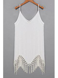 Solid Color Cami Tassels Dress - White L