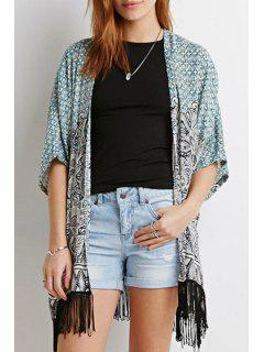 Black Fringe Splicing Printed Half Sleeve Kimono - Blue Xl