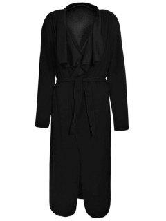Turn-Down Collar Solid Color Asymmetrical Trench Coat - Black 2xl