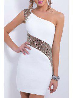 One Shoulder See-Through Sequins Splicing Dress - White S