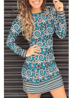 Robe à Encolure Imprimée à Manches Longues - Bleu L