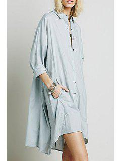 Ruffle Single-Breasted Long Sleeve Dress - Light Blue
