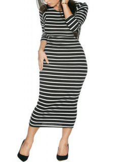 Stripes Long Sleeve Bodycon Dress - White And Black S