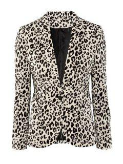 Leopard Pattern Lapel Blazer - S