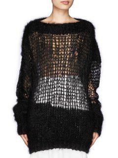 Solid Color Mesh Long Sleeve Sweater - Black
