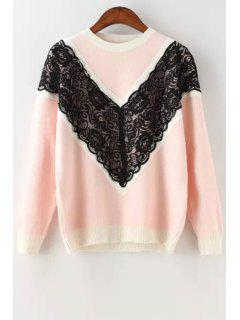 Black Lace Splicing Long Sleeve Sweater - Pink