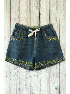 Straight Leg Embroidered Denim Shorts - Deep Blue