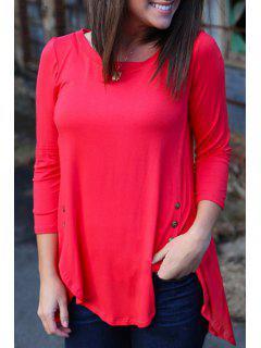 Irregular Hem Long Sleeve T-Shirt - Red L
