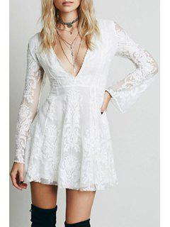 Deep V Neck Embroidered See-Through Dress - White L