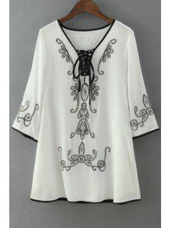 Tie-Up Black Floral Embroidery 3/4 Sleeve Dress - White S